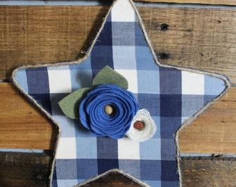 Blue Plaid Star Wall Hanging