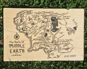 Wooden Lord of the Rings Map of Middle Earth // Wood Wall Art // Nerdy Gifts // Handmade // Wooden Artwork