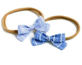 Linen Baby Headbands & Bows | Mini Newborn Bow Set | Blue Stripe Bow Set