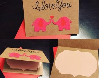 """Elephants """"I Love You"""" Card"""