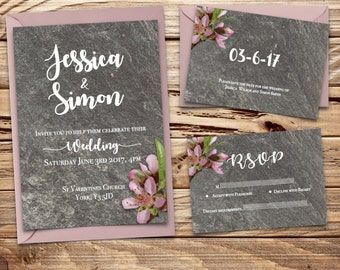 slate and blossom Printable Wedding Invitation Set