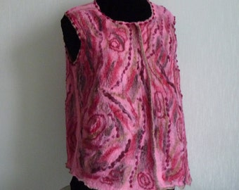 Nuno felted vest / waistcoat - Shadows of pink and rose -Fine merino wool