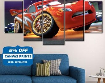 cars poster cars canvas lightning mcqueen art kids room decor disney cars
