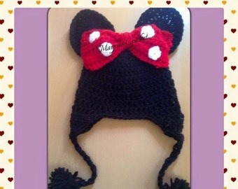 Minnie Mouse Hat with ear flaps - Crochet