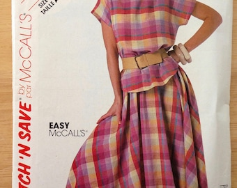 McCalls Stitch 'N Save Pattern 2321, Vintage 1980s, Misses Top and Skirt, Size 6-8-10, Bust 30.5 to 32.5