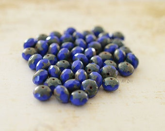 Faceted, cut, Czech glass 8x6mm blue cobalt 10 beads.