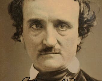 "1849 Edgar Allen Poe with Added Autograph Vintage Photograph 8.5"" x 11"""