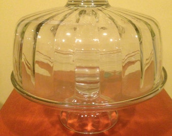 Vintage Ribbed Clear Glass Dome Cake Stand