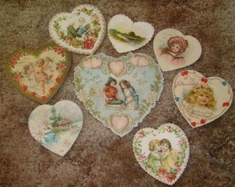 SALE 8 Vintage Heart Valentines