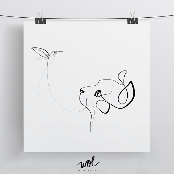 Single Line Box Art : Black and white cat art one line drawing