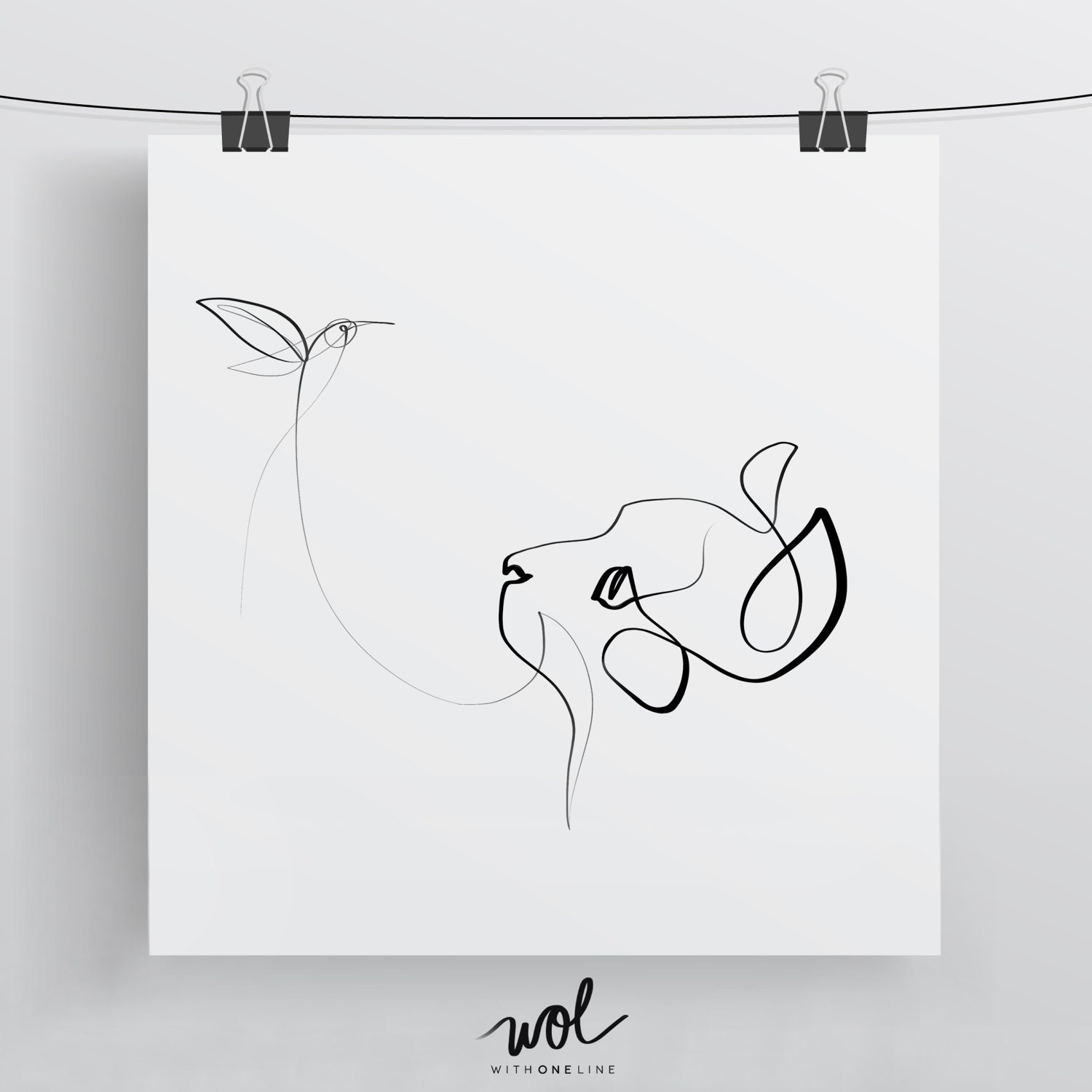 Single Line Chat Art : Black and white cat art one line drawing