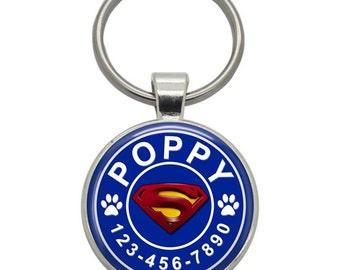 Pet ID Tag - Superman - Pet Tags,  Dog Tags, Cat Tags, Dog ID Tags, Cat ID Tags