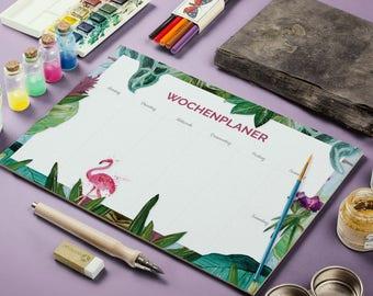 Weekly Planner, calendar, memo, Flamingo, Planner