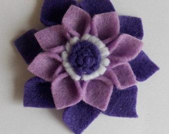 "Purple Felt Flower Hair Accessory - Small (3"" diameter)"