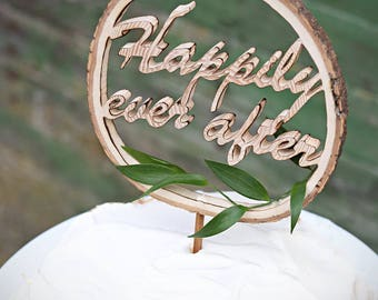 Personalized cake topper, Wood cake topper, Name cake topper, Happily ever after cake topper, Initial cake topper, Rustic cake topper