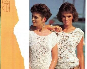 ORIGINAL 80s Top Knitting Pattern, Patons 7850, Short Sleeve Jumper Pattern, Blouse knitting Pattern, Vintage 80s Patterns, Tshirt Knitting