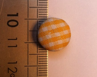 Batch covered buttons yellow gingham fabric