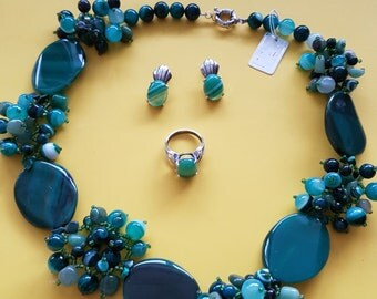 Jewellery |  jewellery set | agate jewellery set | necklace earrings ring