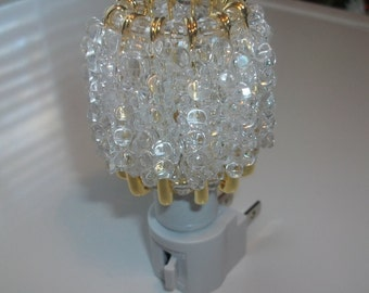 Night Light Hand Made Shade Gold or Silver Safety Pins, Beads, Night Light, Crystal, White or Black Light Base