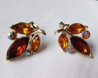 Star Amber and Orange Leaf, Aurora Borealis Clip On Earrings- Silver Tone