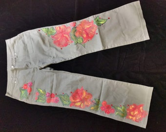 Hand Painted Jeans - Spring Blossoms