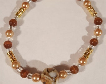 Marbled Stone, Gold and Orange Bracelet