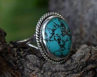 TURQUOISE SILVER RING, Turquoise Ring, Turquoise Stone Ring, 92.5 sterling Silver Ring, Handmade Ring, Gypsy Ring ,  7