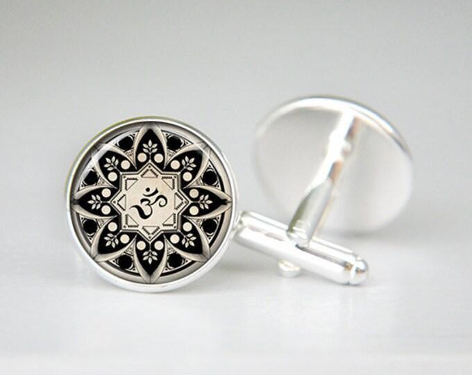 OM cufflinks, OM cuff links, yoga cufflinks, OM sign cufflinks, personalized cufflinks, wedding gifts, groomsmen gift, Silver Cufflinks