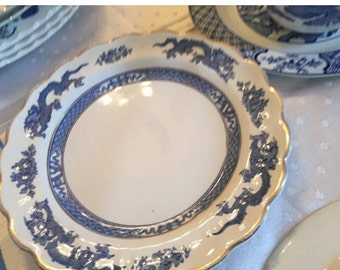 Booths Dragon Vintage Ta Blate. Blue and white dinner plate.