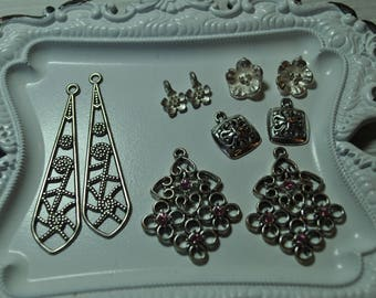 Earring dangles, silver tone, findings, destash