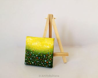 Desk Decor: Tiny Acrylic Painting on Canvas, Spring Flowers Field, Original Handmade Painting, Abstract Flowers, Easel Included