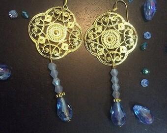 PERANAKAN TREASURE, earrings, exotic earrings, blue earrings, beads earrings, boho earrings