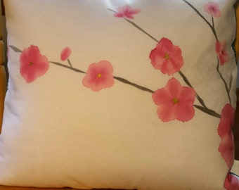 Hand Painted Spring Blossoms Throw Pillow