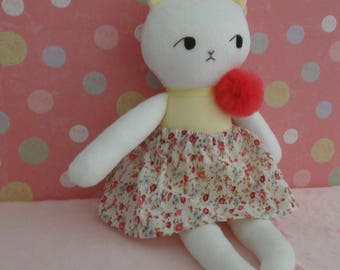 Handmade Doll , Cat Doll , Cat Plush, Rag Doll,Stuffed Cat,Plush Doll,Cloth Doll,Doll Fabric Cat, Cat Doll , Kitten Doll