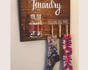 Hand-made Hand Lettered Laundry Sign