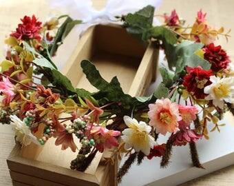 Rustic Chic Wildflower Silk Flower Crown with Daisies and Berries - Hair Vein / Wedding / Bridesmaids / Prom / Flower girl / coachella