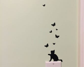 Cat and Butterfly decal