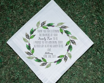 Wedding Handkerchief, Family Tree, Mother in Law, Father In Law, In Laws, Dad, Parents Thank you Gift, Printed Handkerchief, Hankie 50