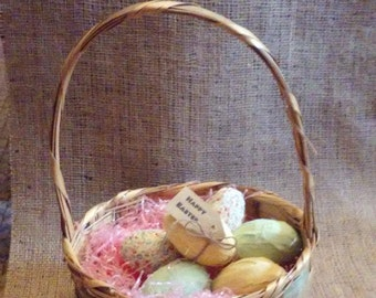"""Rag Eggs with """"Happy Easter"""" tag and jute bow"""