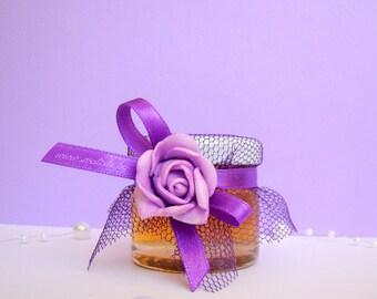 WEDDING  honey jar favours/5 pieces/Tulle/honey
