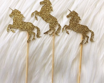 10 x Unicorn - Birthday  - Party - Cupcake Cake Topper - Decoration - Glitter - Gold Any Colour - Decor