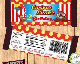 Curious George Inspired Candy Bar Wrapper, Curious George Inspired Wrapper,  Curious George Inspired Favor,- DIGITAL FILE ONLY