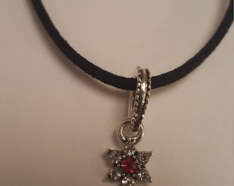 "RED, LILAC or BLACK Diamonte Flower Charm Pendant Surrounded by Clear Diamontes on a Black 19"" Suedette Cord Necklace"