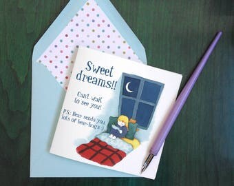 "Card + envelope: ""Sweet dreams"" / ""Happy dreams"" / ""Bonne nuit"""