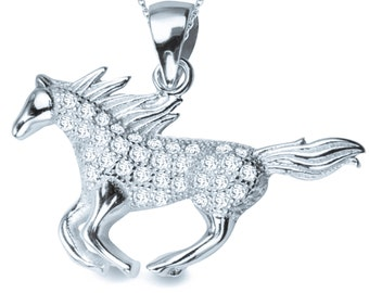 Sterling Silver Horse Zirconia Pendant, jewelry gift, jewelry, unique jewellery, unique jewelry, handmade, horse pendant, modern jewelry
