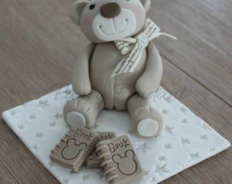 Fondant Teddy 6.5cm high, 3D Edible Cake Topper Decoration