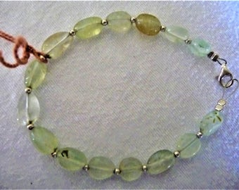 Light Green Bracelet with Prehnite. Prehnite Bracelet. 925 Sterling Silver Bracelet. Transparent Bracelet. Greek Bracelet. Summer Bracelet.