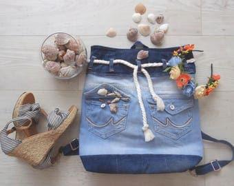 Handmade Denim Seamood Backpack School bag Beach bag