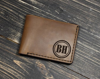 Husband Birthday Gifts, Custom Leather Wallet, Gifts for Dad Birthday, Leather Wallet for Men, Anniversary Gift for Boyfriend, Mens Wallet