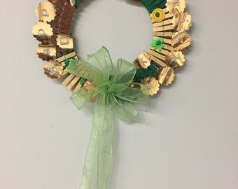 St Patrick's Day Wreath with translucent Green Bow